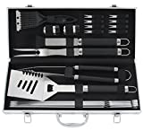 ROMANTICIST 20pcs Stainless Steel BBQ Tool Set - Premium Grilling Accessories for Men