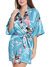 Aibrou Kimono Robe de Chambre Chemise de Nuit Femme Fleurs Paon sous vêtements