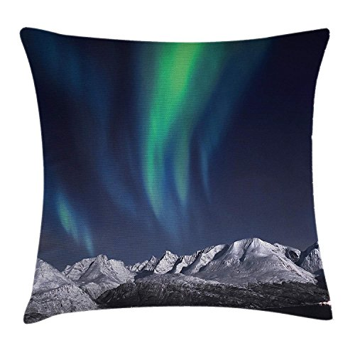 Sky Decor Throw Pillow Cushion Cover, Northern Lights Aurora over Fjords Mountain at Night Norway Solar Image Art, Decorative Square Accent Pillow Case, 18 X 18 Inches, Green Dark Blue