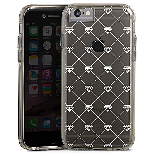 Apple iPhone 6s Bumper Hülle Bumper Case Glitzer Hülle Transparent mit Muster Diamant Diamanten Bumper Case transparent grau