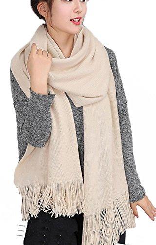 Wander agio Donna Caldo Inverno lunga sciarpa lana filatura grande scialle avvolge nappe Pure Color Beige Taglia unica