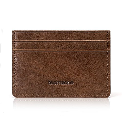Teemzone Porte-Monnaie Homme Cuir véritable Portefeuille Pour poches pantalon ou veste Porte-cartes de crédit Hommes marron / kaki (marron)