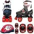 Sk8 Zone Jungen Roten Schwarz Rollschuhe Gepolstert Kinder Roller Stiefel Sicherheit Polster Helm Kinder Skate Set