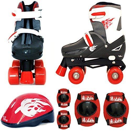 Sk8 Zone Jungen Roten Schwarz Rollschuhe Gepolstert Kinder Roller Stiefel Sicherheit Polster Helm Kinder Skate Set - Small 9-12 (27-30 EU)
