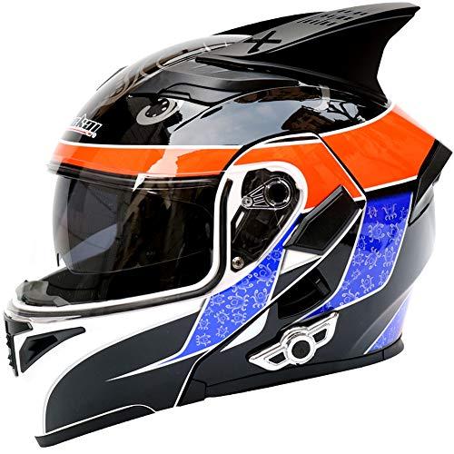 MAKE FINE Bluetooth Helm Motocross Persönlichkeit Integralhelm Cross-Country-Lokomotive Doppellinsenhelm Outdoor Vier Jahreszeiten Unisex Helm Mit Bluetooth,5,XL (Der Neue Stormtrooper Helm)