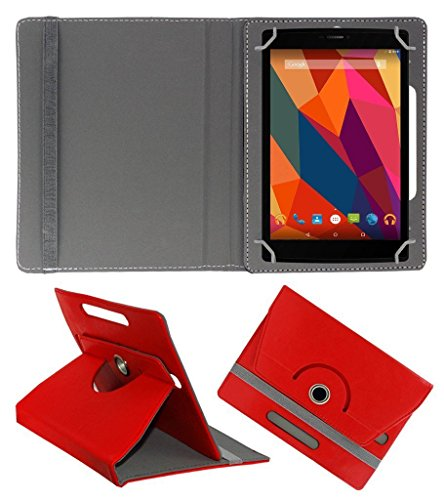KOKO ROTATING 360° LEATHER FLIP CASE FOR Datawind UbiSlate 7C Plus TABLET STAND COVER HOLDER RED