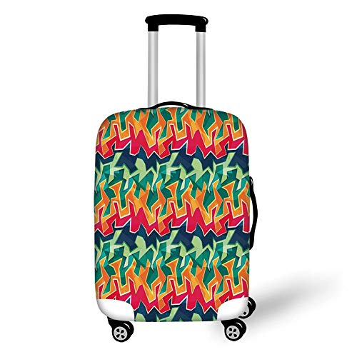 Travel Luggage Cover Suitcase Protector,Grunge,Colorful Graffiti Inspired Pattern Cool Crazy Funky Display Urban City Street Art,Multicolor,for Travel S