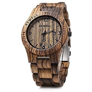 RUNACC Damen Holz Uhr Vintage Quarzuhren Stilvolle Armbanduhr mit Faltschließe (Zebra)