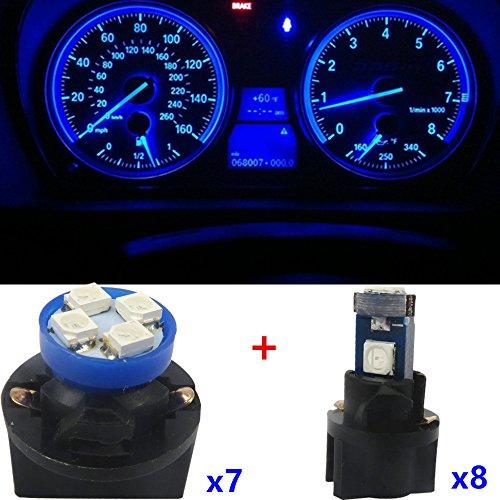 WLJH 15pcs T10 194 168 ampoule LED T5 912 LED Cluster de jauge de tableau de bord Tableau de bord Ensemble de lumière LED pour 1998 1999 2000 Dakota, Bleu