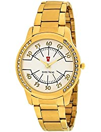 Swiss Trend Crystal Studded White Dial Analogue Women's Watch - GolOLST2251