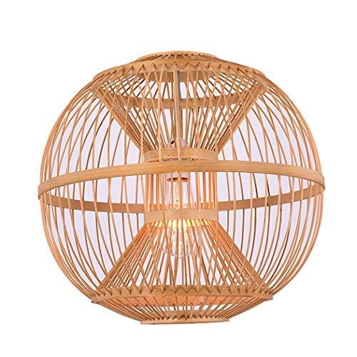 Yongyong Lámpara De Bambú Trenzada Hecha A Mano Araña Lámpara China Simple Restaurante Bar Salón De Té Lámpara De Balcón Zen Lámpara De Bambú (Size : 42 * 39cm, Wattage : 220v)