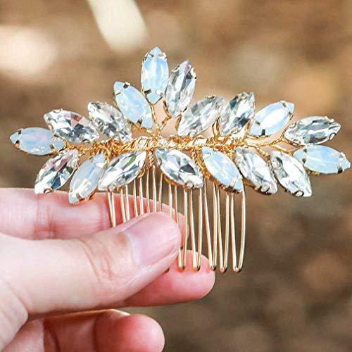 Der Elemente Kostüm Natur - handcess Hochzeit Haar Kämme Opal Strass Kristall Gold Blume Haarschmuck für Bräute und Brautjungfern (Set von 2)