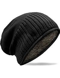 Grin&Bear weiches unisex Slouch Beanie Mütze in Feinstrick mit warmem Fleece Innenfutter M31