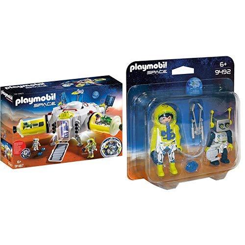 PLAYMOBIL 9487 Spielzeug-Mars-Station &  9492 Spielzeug-Duo Pack Astronaut und Roboter