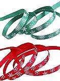 iSuperb 2 Stück Weihnachtsbänder Schleifenband Satinband Dekoband für Weihnachten Hochzeit Verzieren DIY Handwerk Jeweils (Rotes und grünes Band)