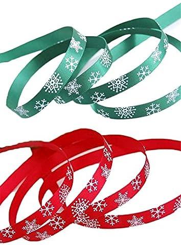iSuperb® 2 Stück Weihnachtsbänder Schleifenband Satinband Dekoband für Weihnachten Hochzeit Verzieren DIY Handwerk Jeweils 10 Meter (Rotes und grünes