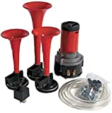 #2: AllExtreme Car/Bikes Air Horn, Dukes of Hazzard Horn 3/Triple Trumpet Musical Horn with 12 Volt Air Compressor and Attachment Screws and Brackets, Dixie Horn for Cars,Bikes Trucks and SUV's