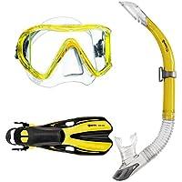 Mares i3 Sailor Volo One - Juego de tubo, aletas y máscara de buceo amarillo Talla:S/M (35-38)