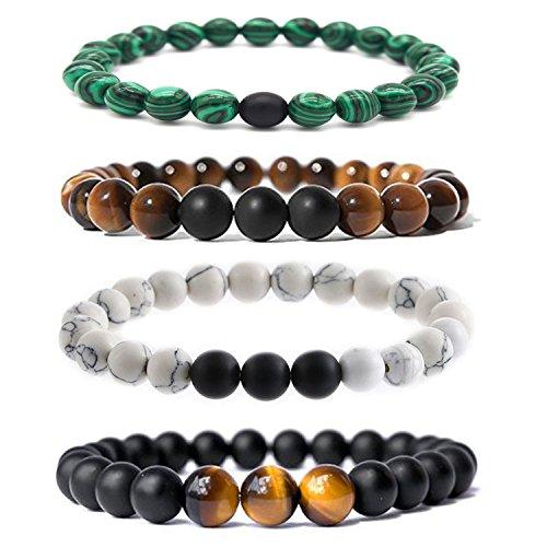 Bliqniq 4 Pcs 8mm Herren Chakra-Perlenarmband aus Onyx-Lava-Natursteinen Energiearmband mit Jaspis-Weltkugel Buddha Armreif Yoga-Armband 26er Beads
