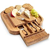 VonShef Square Slide Out Bamboo Cheese Board with 4 Piece Knife Set