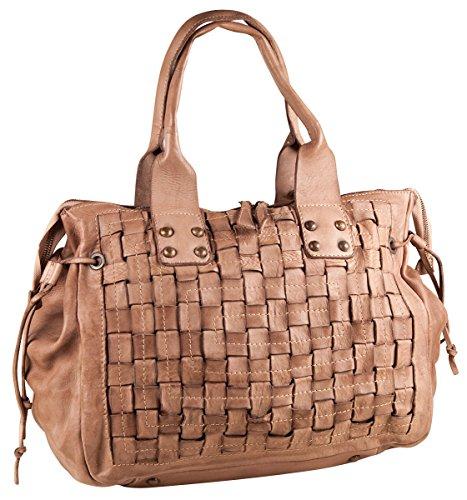 Pelle Italy Tasche Handtasche PI10084 Schultertasche Flecht Echt Leder 37x30x15 cm (BxHxT), Farbe:Cognac Taupe