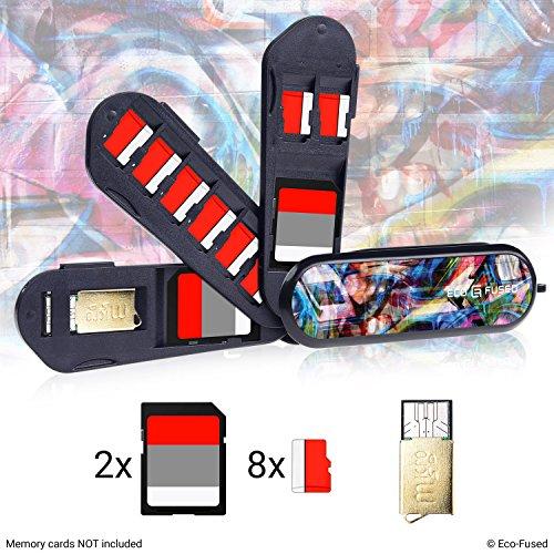 ECO-FUSED Estuche para tarjetas de Memoria tipo de navaja suiza – Incluye lector Micro SD (USB) – Se adapta a 2x SD (SDHC/SDXC/TF) y 8x Micro SD (SDHC/SDXC/TF) – Ideal para Drones y Cámaras de Acción