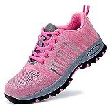 AIXSHOE Damen Leicht Arbeitsschuhe Sportlich Stahlkappe Sicherheitsschuhe Wanderhalbschuhe Schutzschuhe Hiking Trekking Schuhe S1P,Pink,39EU