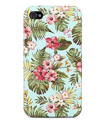 Tropical Flowers Floral Print Hawaii Aloha Hype Hard Plastic Snap On Back Case Cover For iPhone 4 / 4s Custodia