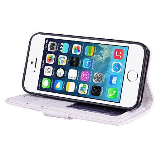 Cover iPhone 5 5S SE Pelle Unicorno, Unicorno Portachiavi Peluche, E-Unicorn Cover Custodia Apple iPhone 5 5S SE Pelle Unicorno Modello Brillantini Glitter Portafoglio Bianco PU + TPU Silicone Morbido Bianco