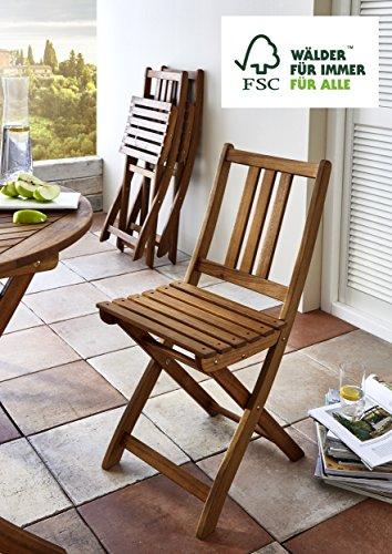 SAM Gartenstuhl Farum, Akazie-Holz, für Balkon Garten, Terrasse, zusammenklappbar, FSC 100%...