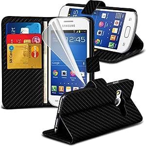 ( Black Carbon Fiber ) Samsung Galaxy Trend 2 Lite Specifically Designed BookStyle faux cuir stand Case Wallet Avec / carte Débit Crédit Logement est également livré avec écran Guard Protector, Chiffon & Stylet rétractable exclusivité Spyrox