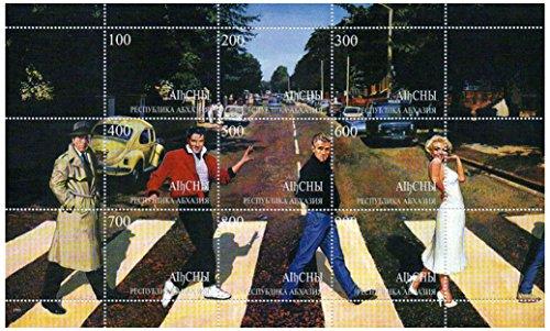 Marilyn Monroe, James Dean und Elvis Presley zu Fuß über die Straße - Mint und postBriefMarkenBogen (Elvis-souvenir)