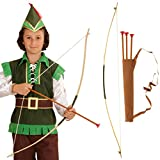 NET TOYS Flecha y arco para niños Set Robin Hood carcaj chicos Armas de indio aljaba arquero Complemento para disfraz