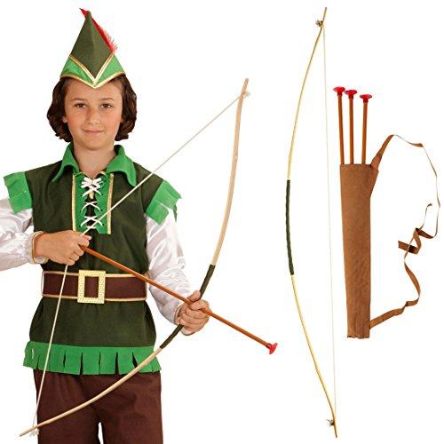 Zubehör Kostüm Robin - NET TOYS Pfeil und Bogen für Kinder Robin Hood Set Kinderbogen mit Köcher Indianer Pfeilbogen Bogenschießen Bogenschütze Kostüm Zubehör