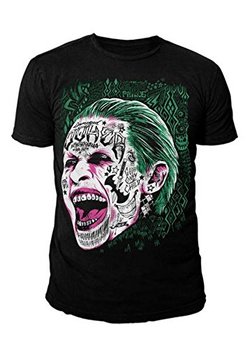 DC Comics - Suicide Squad Herren Premium T-Shirt - Joker Smile (Schwarz) (S-XL) (XL) (Riddler-jacke)