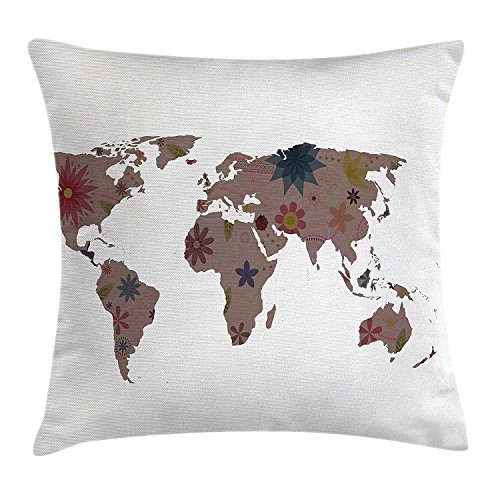 ZMYGH Floral World Map Throw Pillow Cushion Cover, Vintage Earth Surface with Blooms Atlas Bohemian Globe Artistic Display, Decorative Square Accent Pillow Case, 18 X 18 Inches, Multicolor (Chocolate World Globes)
