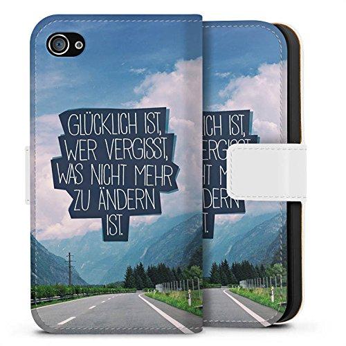 Apple iPhone X Silikon Hülle Case Schutzhülle Glück Sprüche Statement Sideflip Tasche weiß