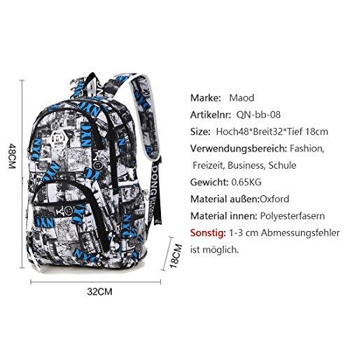 Imagen de maod  de escolar oxford tela bolsa de ordenador resistente al agua bolso del senderismo juveniles casual backpack de viaje diario azul 3  alternativa