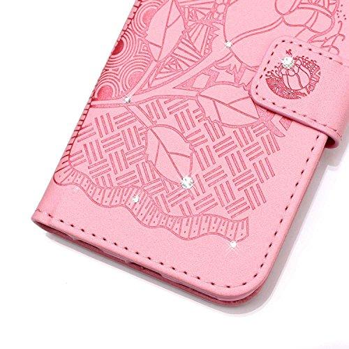 Custodia per iPhone 5/5S iPhone SE ,SKYXD Cover Libro Portafoglio in Pelle + TPU Gel Antiurto 360 Full Body Protezione Completa Retro Flip Coperture Case per Apple iPhone 5S/SE,Elegante Colorata Brill Rosa Rose