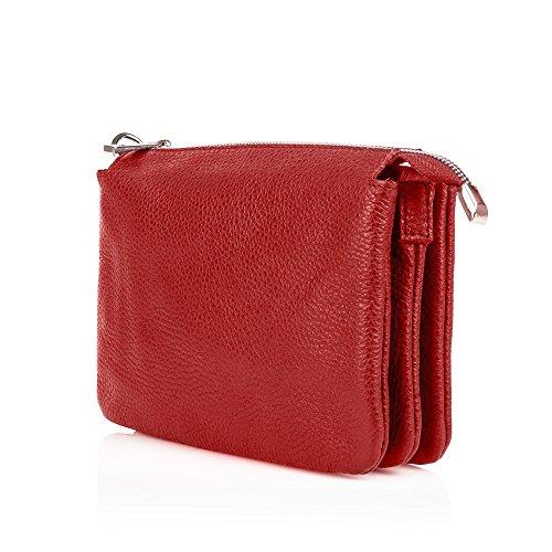 MINNIE Borsetta a tracolla mini portafoglio con zip tre scomparti pelle martellata rosso