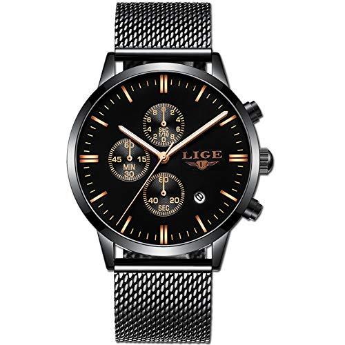 LIGE Herrenuhr Sport Wasserdicht Chronograph Edelstahl Armbanduhr Mode Schwarz Analoger Quarz Uhr für Mann ... ... -