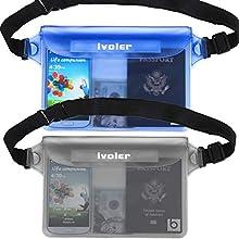 iVoler [2 Unidades] Riñonera Impermeable Universal con Correa de Cintura, Bolsa Estanca para Playa, Floating, Rafting, Kayak, Senderismo, Pesca, Escalada, Camping, etc(Gris+Azul)