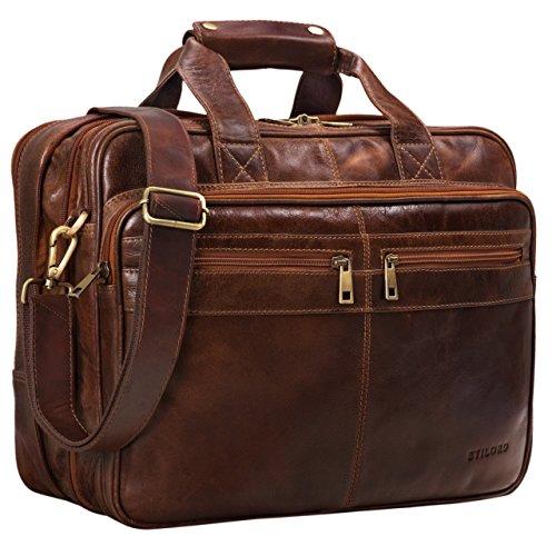 STILORD 'Alexander' Lehrertasche Herren Leder braun Aktentasche Laptoptasche Bürotasche Businesstasche Vintage groß XXL Umhängetasche mit Dreifachtrenner, Farbe:antik - braun