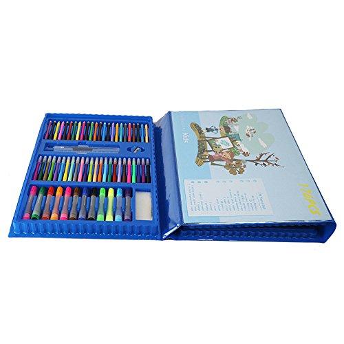 DRHYSFSA Aquarell-Stift-Kit Kinderkunst Set 175 Stück Kunstbedarf für das Malen und Malen Farbe Bleistift Art Set und Trage Set, tolle Weihnachten, Geburtstagsgeschenk Geschenk für Kinder - 175 Stück Kit