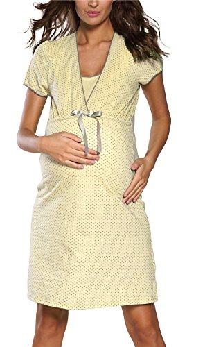 Italian fashion if camicie da notte premaman telimena 0114 (giallo, s)