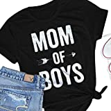 Nlife Frauen Mom of Boys Brief Drucken Casual Kurzarm Shirt Top T-Shirt Für Muttertag
