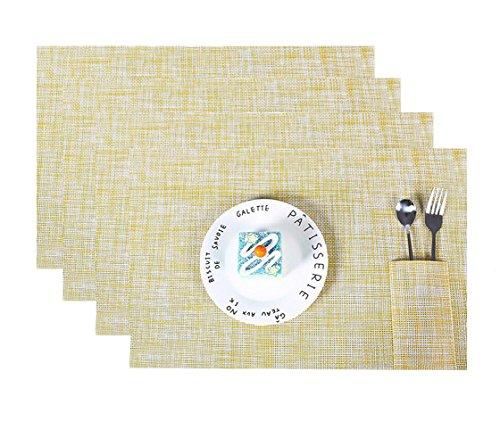 (FOOKREN 4er-Set Platzsets Tischmatten Hitzebeständig Tischsets Schmutzabweisend und Waschbare Platz-Matten für küche Speisetisch Tischsets Vinyl 45 * 30 cm D-10014 (Gelb))