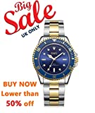 DWG Herren Quarz Luxus Uhr Edelstahl Band Analog Display und wasserdicht Business Fashion Armbanduhren