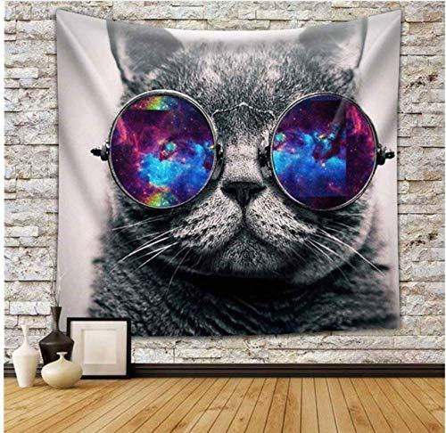 Tier Tapisserie Multi-Color Wolf Galaxy Hipster Cat Wear Farbe Sonnenbrille Und Einhorn Malerei 150X150Cm