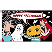 BANDIERA HAPPY HALLOWEEN CARTONE ANIMATO 150x90cm - BANDIERA HAPPY HALLOWEEN CARTOON 90 x 150 cm - AZ FLAG